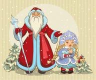 De Russische Kerstman De Vorst van de grootvader en het Meisje van de Sneeuw Kerstman Klaus, hemel, vorst, zak Stock Fotografie