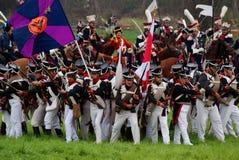 De Russische legermilitairen in Borodino vechten het historische weer invoeren in Rusland Royalty-vrije Stock Afbeelding