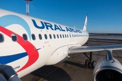 De Russische luchtvaartlijn ` s Pobeda van de vliegtuigenbegroting Stock Afbeelding