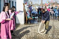 De Russische nationale concurrentie in touwtrekwedstrijd bij het festival van afscheid aan de winter in het Kaluga-gebied op 13 M Royalty-vrije Stock Foto
