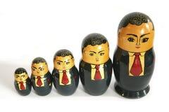 De Russische poppen van de zakenman stock foto