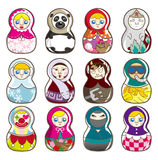 De Russische poppen van het beeldverhaal Royalty-vrije Stock Foto's