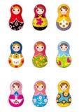 De Russische poppen van het beeldverhaal Stock Foto's