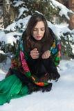 De Russische schoonheid bevroor in het de winterbos royalty-vrije stock fotografie