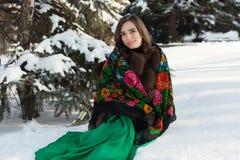 De Russische schoonheid zit vooraan in de sneeuw dichtbij de boom in de winter Stock Afbeelding