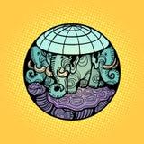 De rust van de schijfaarde op een olifant, en een schildpad stock illustratie