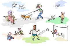 De rustende mensen De rest openlucht Het lopen van ith de hond Het spelen jonge geitjes Royalty-vrije Stock Fotografie