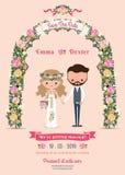 De rustieke bloesem bloeit de kaart van de het huwelijksuitnodiging van het beeldverhaalpaar royalty-vrije illustratie