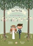 De rustieke Boheemse kaart van de het huwelijksuitnodiging van het beeldverhaalpaar in FO stock illustratie