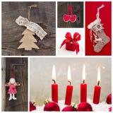 De rustieke decoratie van het land voor Kerstmis in rood en houten met kan stock afbeelding