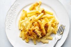 De rustieke gouden romige macaroni en de kaas van MAC stock fotografie