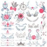 De rustieke hand schetste huwelijks moderne uitstekende grafische inzameling van leuke bloemenbloemen, pijlen, vogels, brougham,  vector illustratie