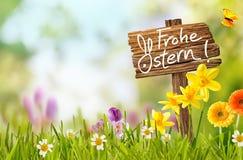De rustieke kleurrijke groet van Frohe Ostern Pasen royalty-vrije stock afbeeldingen