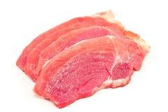 De ruwe die karbonade van het varkensvleesvlees op wit wordt geïsoleerd royalty-vrije stock fotografie