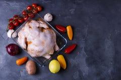 De ruwe gemarineerde kip trof in Aziatische stijl met honing, knoflook, sojasaus, kruiden en groenten voorbereidingen De ruimte v Stock Fotografie