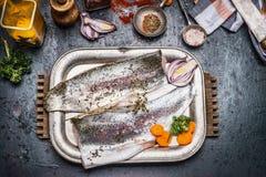 De ruwe voorbereiding van het forelvisfilet met darmgroenten, venkelzaden, zout en kruiden voor het smakelijke koken op donkere r Stock Foto