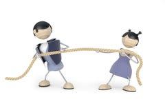 De ruzie van het paar, touwtrekwedstrijd Royalty-vrije Stock Afbeeldingen
