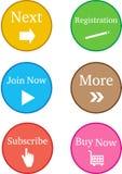 De s'inscrire boutons colorés maintenant Photographie stock libre de droits