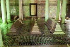 De Saadiens tombsna i Marrakech. Marocko. Arkivfoto