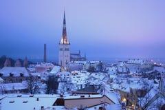 De saaie ochtend van maart in oud Tallinn Estland Royalty-vrije Stock Foto