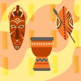 De Safari vastgestelde vectorpictogrammen van Afrika Rituele voorwerpen Royalty-vrije Stock Afbeelding