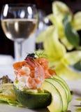 De salade à la carte voorgerecht van garnalen Stock Fotografie