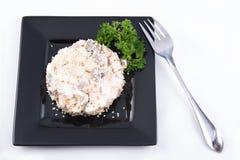 De salade met chiken, paddestoelen en mayonaise Royalty-vrije Stock Foto's