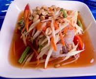 De salade Thais voedsel van de papaja Stock Afbeelding