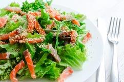 De salade van de bladgroente met gerookte zalm Stock Fotografie