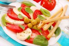De salade van Caprese met grissini stock afbeelding