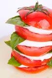 De salade van Caprese met mozarella, tomaat en basilicum Royalty-vrije Stock Foto's