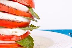 De salade van Caprese met mozarella, tomaat en basilicum Stock Foto's