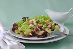 De salade van de aardappel met zalm Royalty-vrije Stock Fotografie