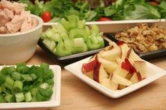 De salade van de de tonijnokkernoot van appelen stock foto