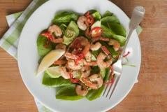 De salade van de garnaal, van de spinazie en van de avocado stock fotografie