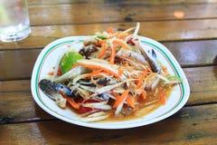 De salade van de papaja met paardkrab Stock Foto