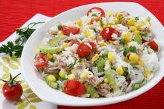 De salade van de rijst met tonijn Royalty-vrije Stock Foto