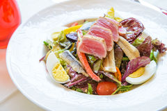 De salade van de tonijn met ei stock foto
