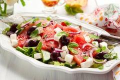De Salade van de watermeloen met Feta stock afbeelding
