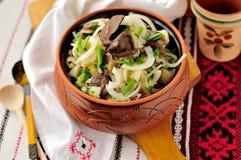 De Salade van de zuurkool, van de Aardappel en van de Paddestoel Stock Afbeeldingen
