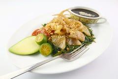 De Salade van glasschervenvissen met waterspinazie/winde/kangkung Royalty-vrije Stock Fotografie