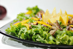 De Salade van het dieet met zeevruchten stock foto