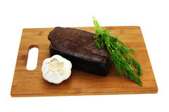 De salade van ingrediënten. De lever van het rundvlees. Stock Foto