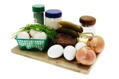 De salade van ingrediënten. Witrussische schotel. Stock Fotografie