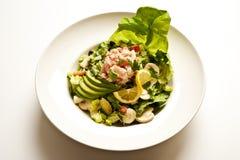 De Salade van zeevruchten in een Witte Kom Stock Afbeeldingen