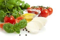 De saladeingrediënten van de tomaat en van de mozarella Stock Foto's