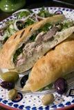 De saladesandwich 2 van de kip Stock Afbeeldingen