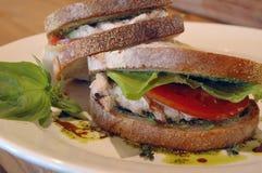 De saladesandwich van de kip stock afbeelding