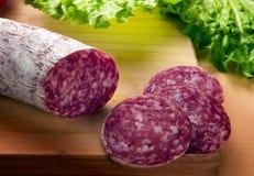De salami, sluit omhoog van plakken Royalty-vrije Stock Afbeeldingen