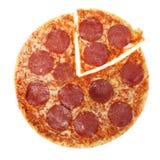 De salami van de pizza Stock Foto's